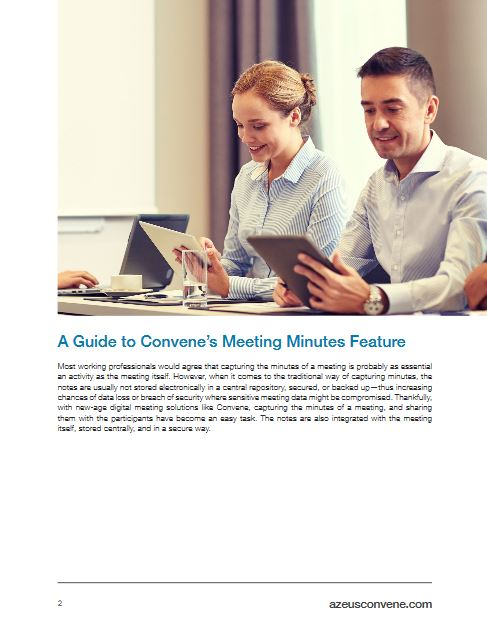 How to take meeting minutes on Convene's meeting application