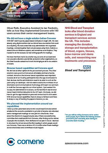NHS Blood and Transplant Implementation case study public sector