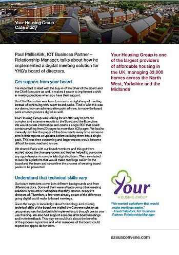 Your Housing Group case study implementing paperless board app