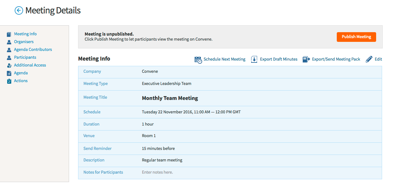Convene is easy to use for meeting admin