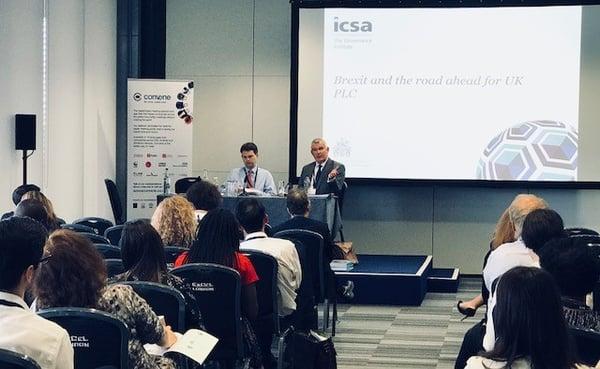 Professor Michael Dougan and Paul Butcher, Brexit Director at ICSA 2018 sponsored by Convene
